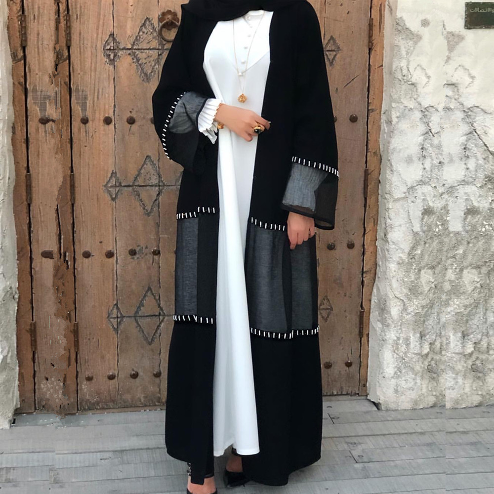2020 New muslim women open abaya with hand made pearl kimono jilbab dubai long maix dress