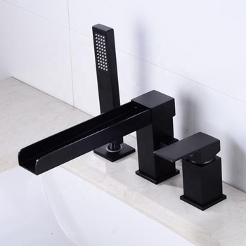 New Design 3 Hole Black Bathroom Faucet With Hand Spray Sink Water Tap Deck Mounted Waterfall Bath Shower Tap