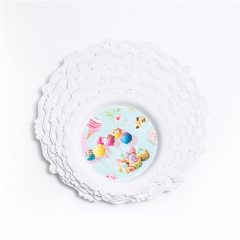 European style round serving tray beautiful elegant plastic plate for wedding