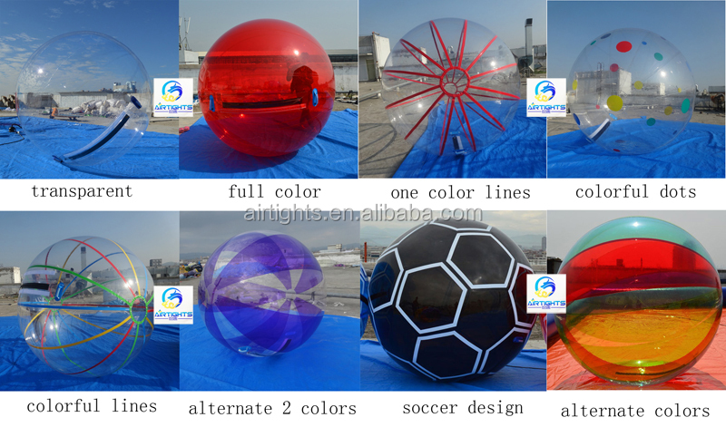 Clear water ball with one color strips good price China inflatable aqua zorb ball for walking