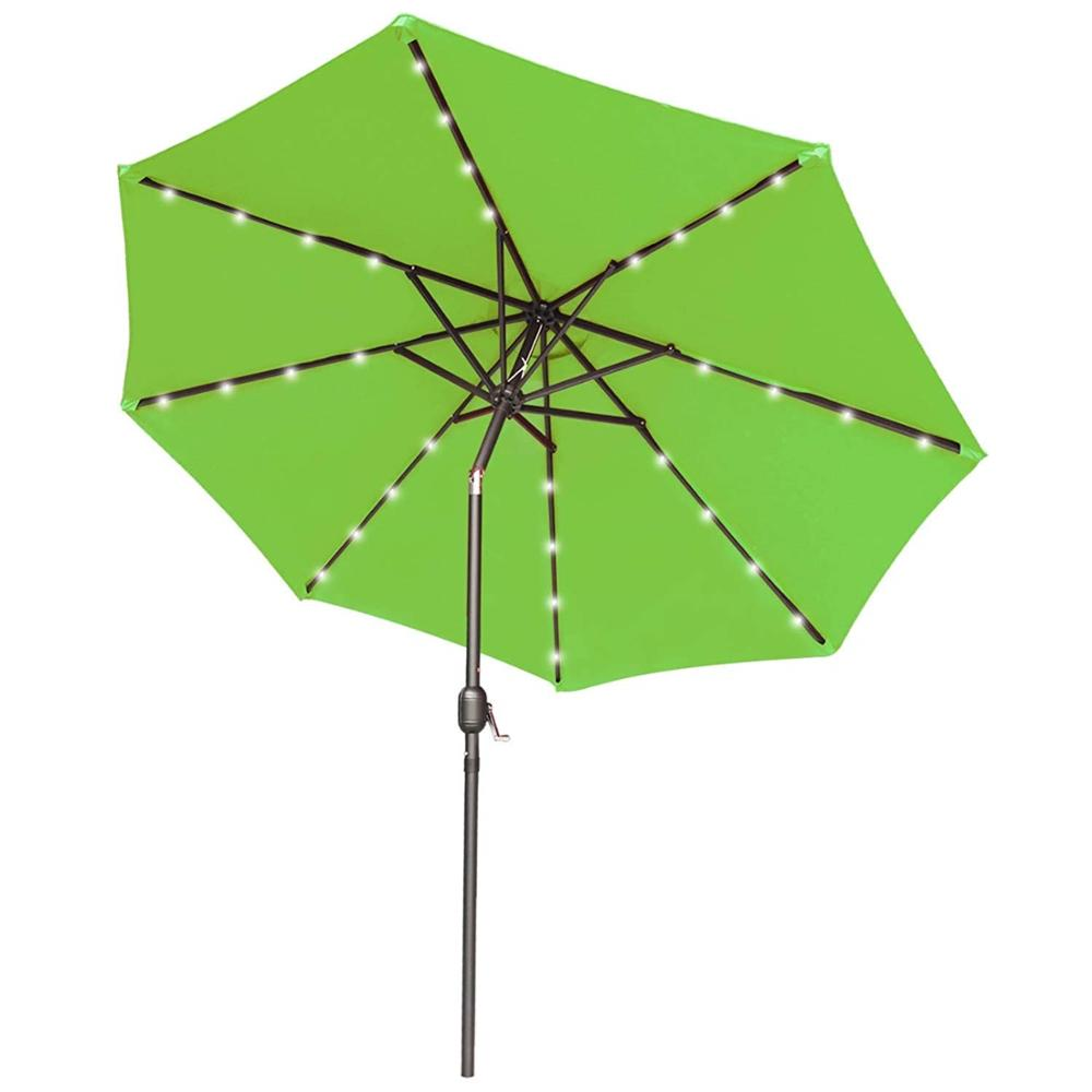 270 Cm Outdoor Solar Parasol dengan 32LED Lights Lime Green Kanopi