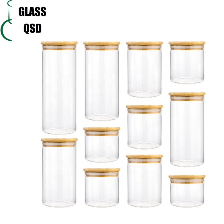 30 40 60 80 100 120 200 300 500 ml Glass Jar Container With Bamboo Lid For Storage