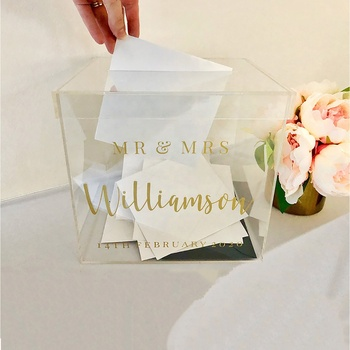 Clear perspex acrylic wedding card box