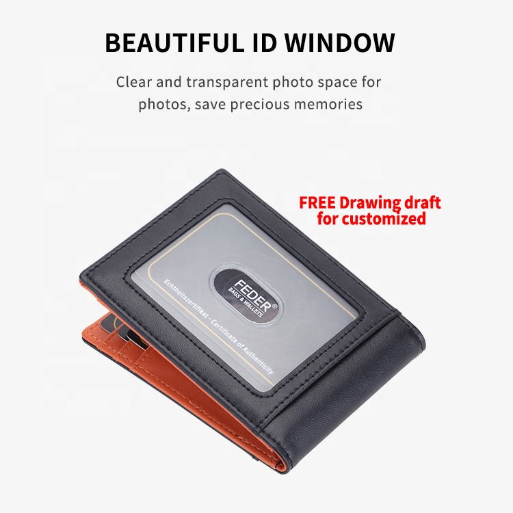 New Design Minimalist Genuine Leather RFID blocking Money Clip Wallet Bifold for Men with coin pocket