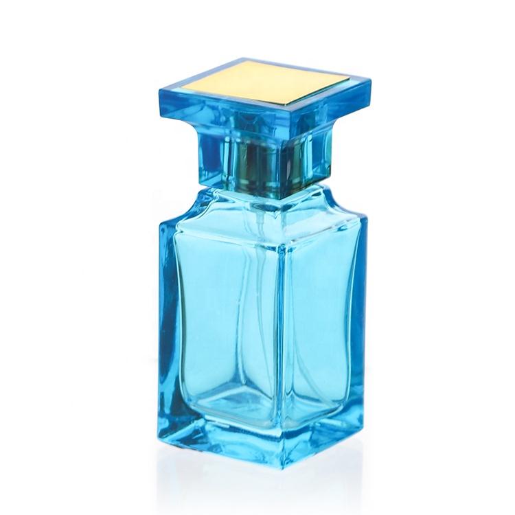 Custom Square Black Blue Empty 55ml Men Cologne Fine Mist Spray Perfume Glass Bottles