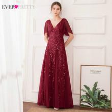 Пыльные розовые вечерние платья Ever Pretty EP00734OD, а-силуэта, с двойным v-образным вырезом, с оборками на рукавах, с блестками, элегантные платья дл...(Китай)
