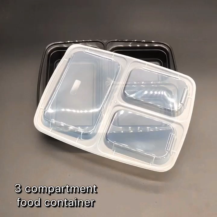 Fresh Food Lunch Box Plastic lid Microwave Safe Meal Prep Glass Food Container Storage with 3 Compartments