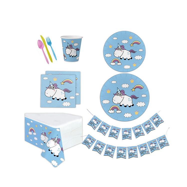 Wholesale Kids Disposable Paper Unicorn Baby Shower Birthday Party Supplies Set and Various Party Pack Goods