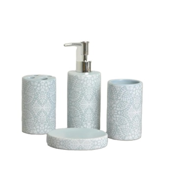 Bathroom Accessories Set 4-Pieces Ceramic gift set dispenser soap dish tumbler toothbrush holder
