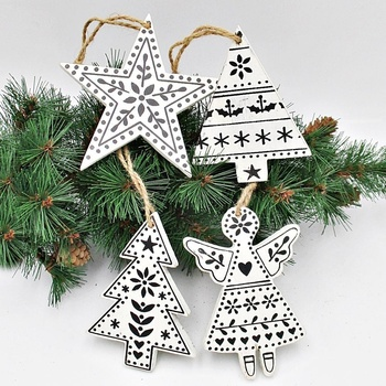 Wholesale Wooden Rustic White Hanging Christmas Tree Ornaments with Black Pattern Details for Party Supplies Xmas Decor