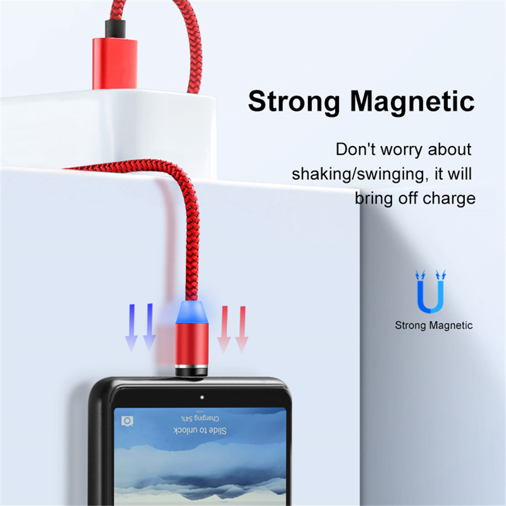 Amazon Hot Selling 3 In 1 Magnetic Braided Charging Micro Magnetic Usb Cable LED Light Fast Charging USB Cable Line