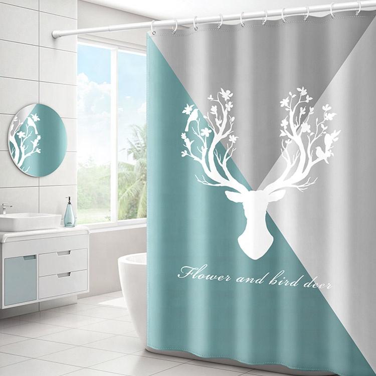OEM promotion pas cher hôtel cerf motif rideau de douche de bain