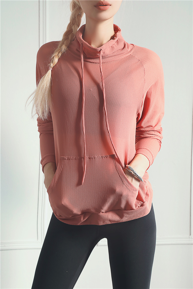 Mesh Design Breathable Fitness Yoga Wear Women High Collar Drawstring Pocket Sports Running Quick-drying Clothes 9