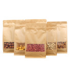 Flat Bottom Stand Up Ziplock Bag Brown Kraft Paper Bags for Nut/dry Fruit