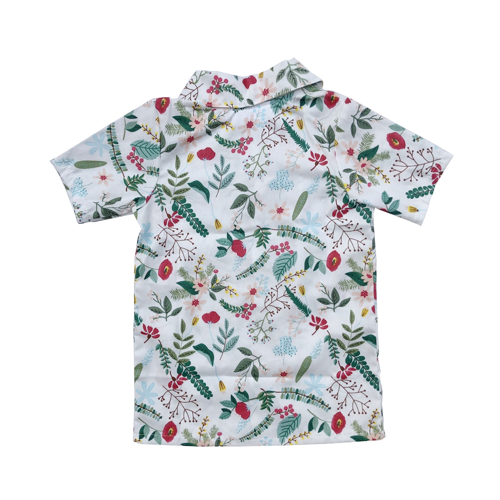 baby printed lapel shirt kid summer button up floral hawaiian t-shirt for boys