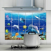 AY4006 Animals Fish kitchen Wall Sticker Removable Waterproof Oil-proof Sea World Dolphin Wall Decor