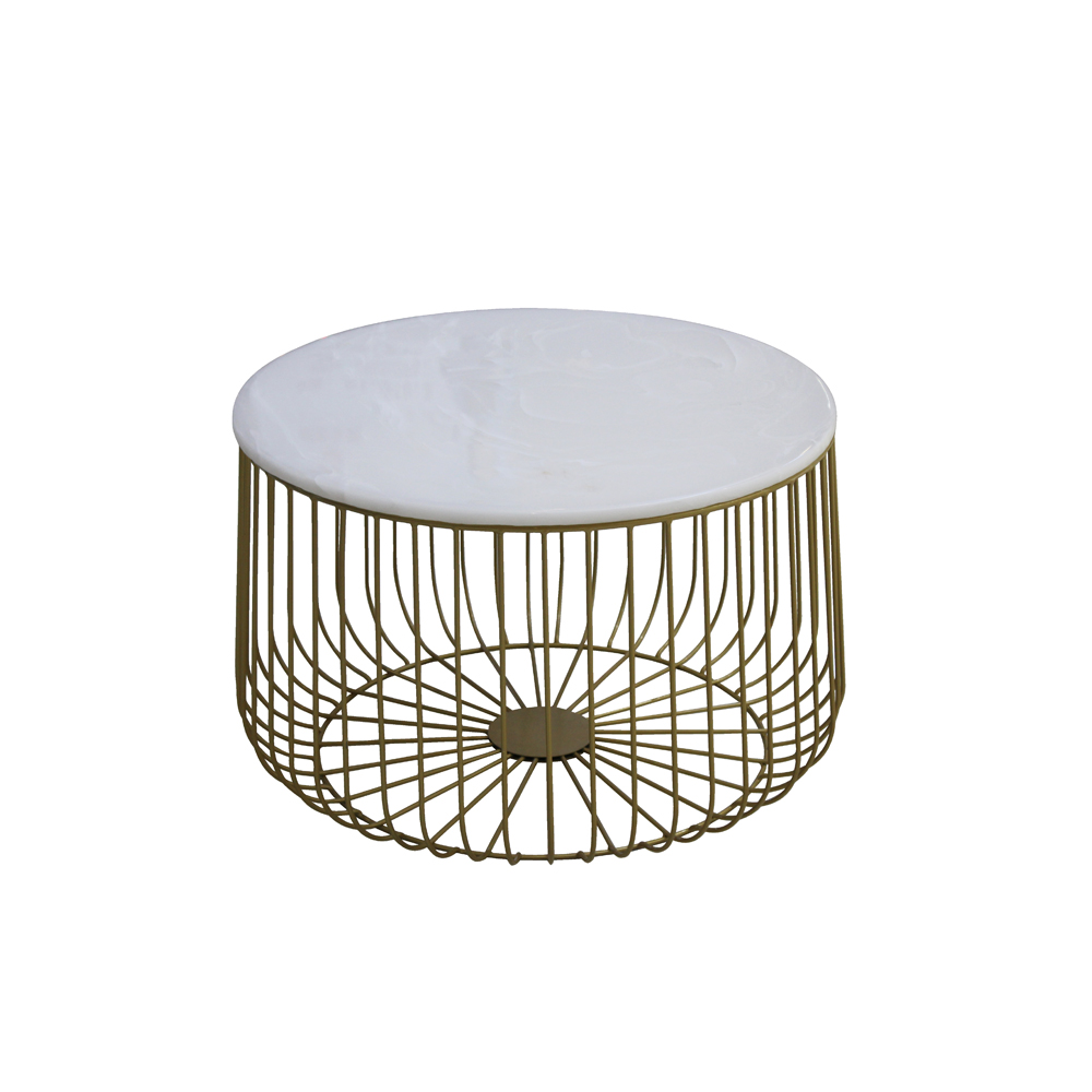 Modern luxury living room tea restaurant furniture metal side dining table marble top gold coffee table for end table