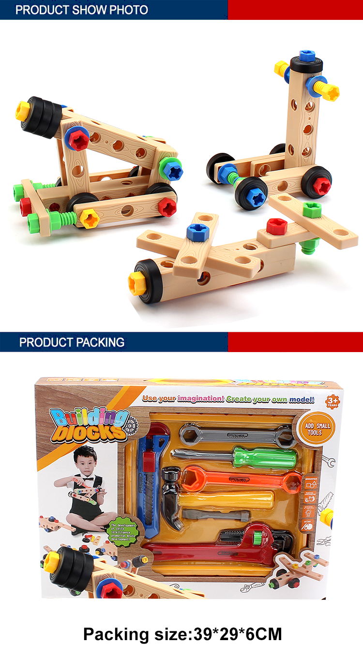 kids education plastic diy building blocks set for preschool with tool toys