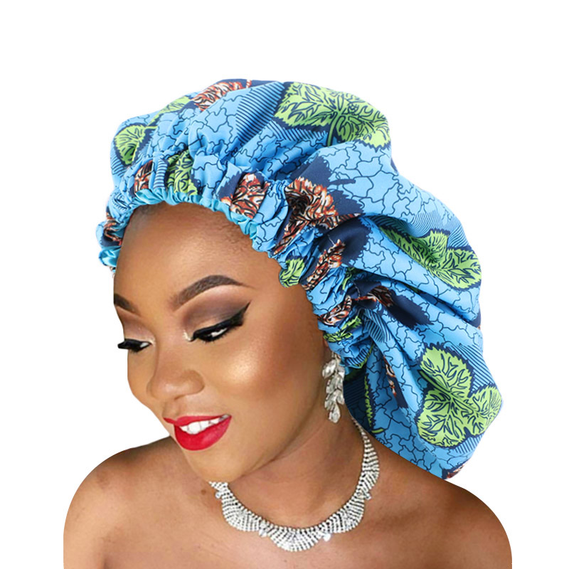 Large size African pattern satin lined bonnet double layer satin sleep <strong>cap</strong> ankara bonnet ankara wave <strong>cap</strong>