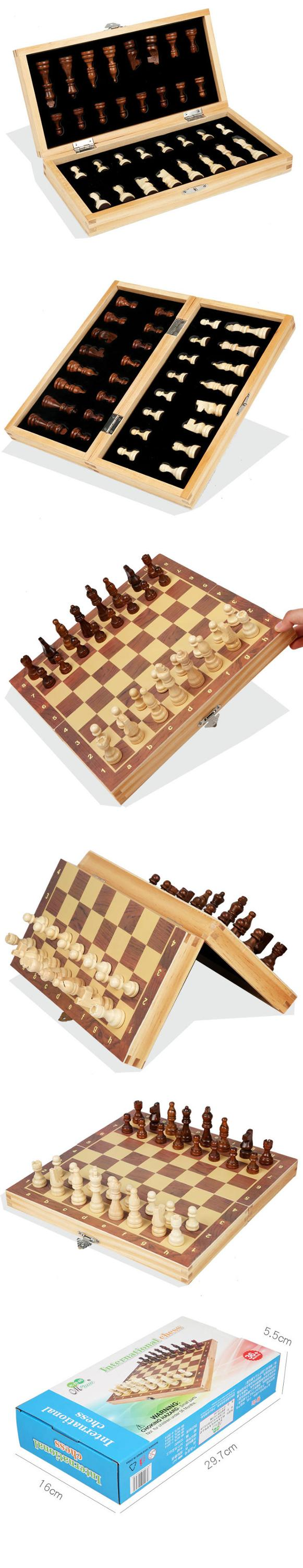 Retro Table toys Wooden magnetic chess Foldable Portable International chess