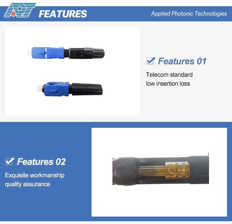 China Manufacturer fc fast fiber optic ftth connector fast