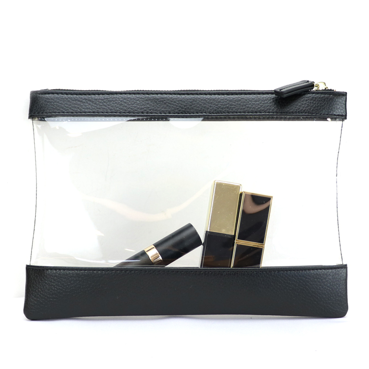 clear PVC plastic leather makeup travel zip pouch
