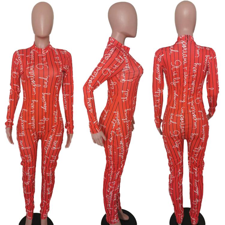 C3685 2020 New women jumpsuit letter printing fitness women one piece sexy stretch winter fashion women onesie wholesale
