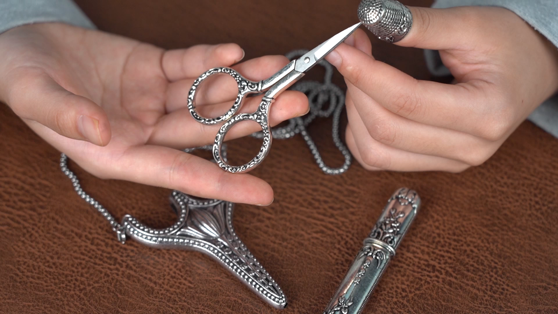 Stainless Steel Safety Sewing Scissors set with Sheath Chain,Needle Tube,Thimble for Embroidery and Sewing Work