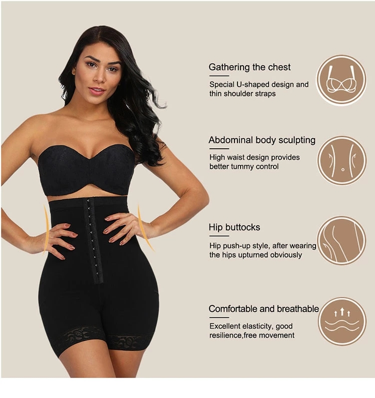 Latest Design Smooth Fabric Adjustable Hooks Women Slim High Waist Tummy Control Butt Lifter Shaper
