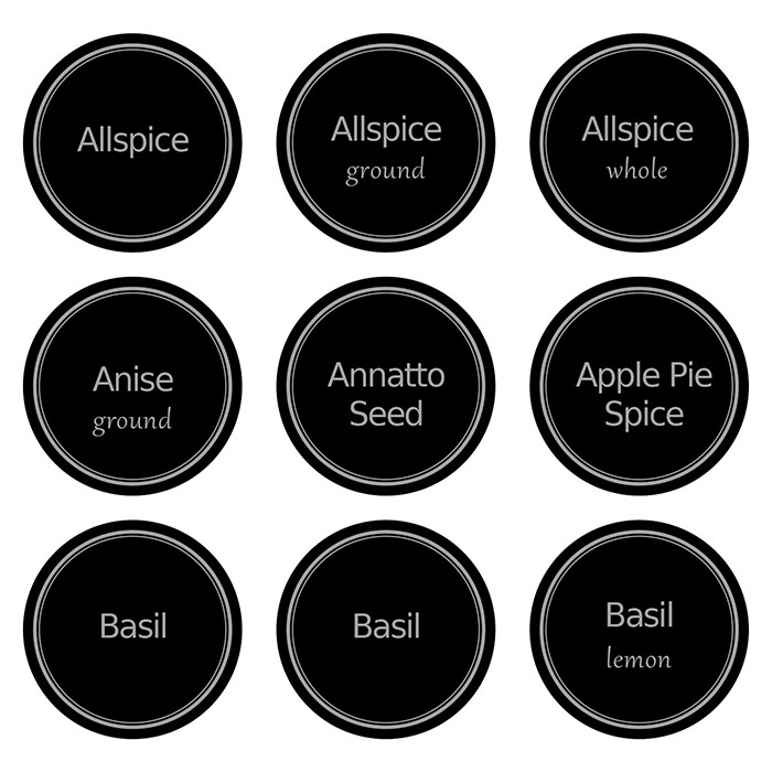 United Kingdom popular custom printed spice jar lid labels etiketten round sticker for glass bottle
