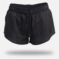 Custom Womens Workout Dry Fit Black Gym Running Shorts With Or Without Inner Lining