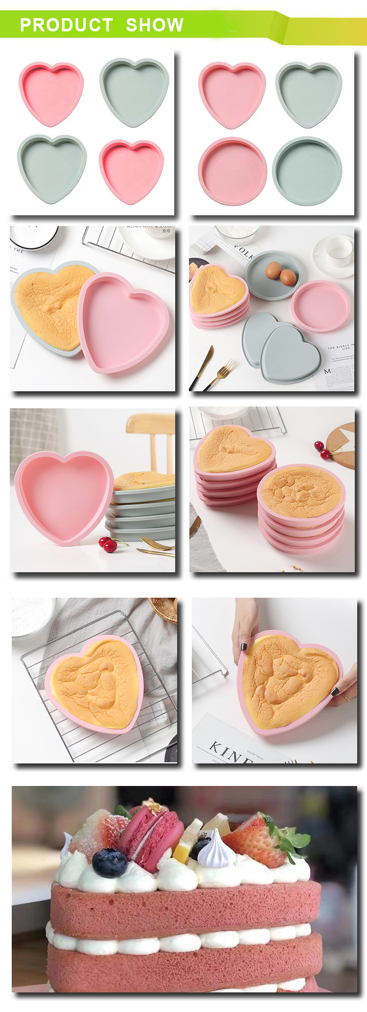 Amazon heißer verkauf Einfach Backen Lebensmittel grade Backen Pfannen herz silikon Kuchen Form pan set (set von 4)