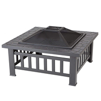 Outdoor Portable Square Patio And Camping Wood Burning Fire Pit