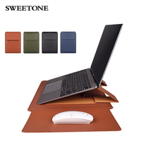 PU Leather Sleeve Case For Laptop Leather Stand Cover Portable Notebook Protector Bag