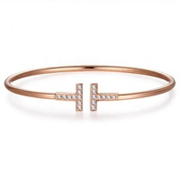 wholesale custom stainless steel jewelry double T brand letter crystal rose gold plated opened cuff bracelet bangle for women