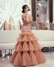 Sevintage 2020, арабское платье русалки, платья знаменитостей с открытыми плечами, платье для выпускного вечера, кружевная многослойная юбка с бле...(Китай)