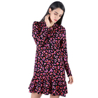Factory wholesale floral print women v neck summer casual short dress