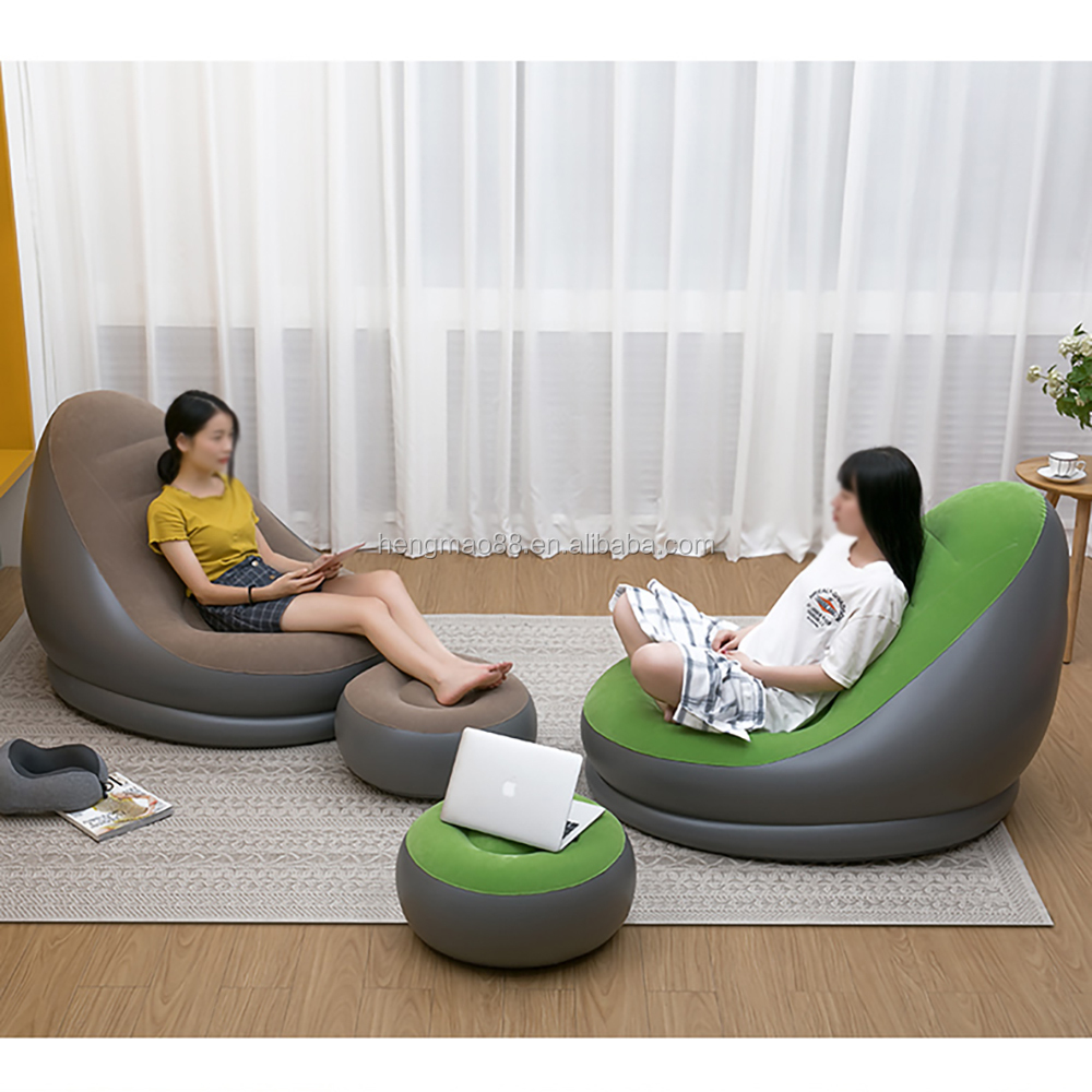 comfortable relax recliner inflatable lazy sofa chair, beanbag lounge chair inflatable living room party air sofa chair set