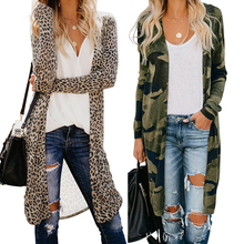 2019 New Style Winter Women Long Sleeve Green Camo Print Cardigans