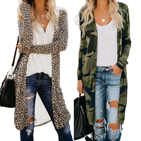 2020 New Style Winter Women Long Sleeve Green Camo Print Cardigans