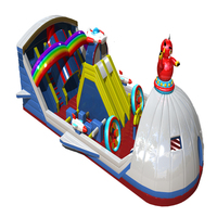 inflatable bouncy castle with combo giant slip and slides/ inflatable obstacle bouncer
