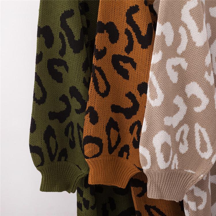 Amazon New Designed Leopard Print High Neck Pullover Women Sweater Dress