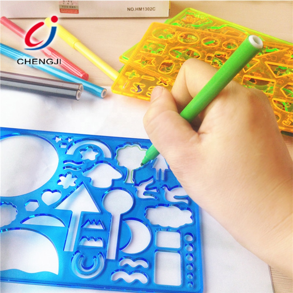 Promotion kids plastic eco-friendly drawing stencil art set for kids