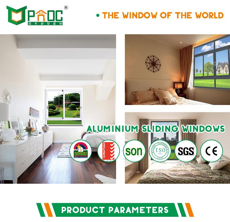 Vertical aluminium sliding window with single/double/triple glazing