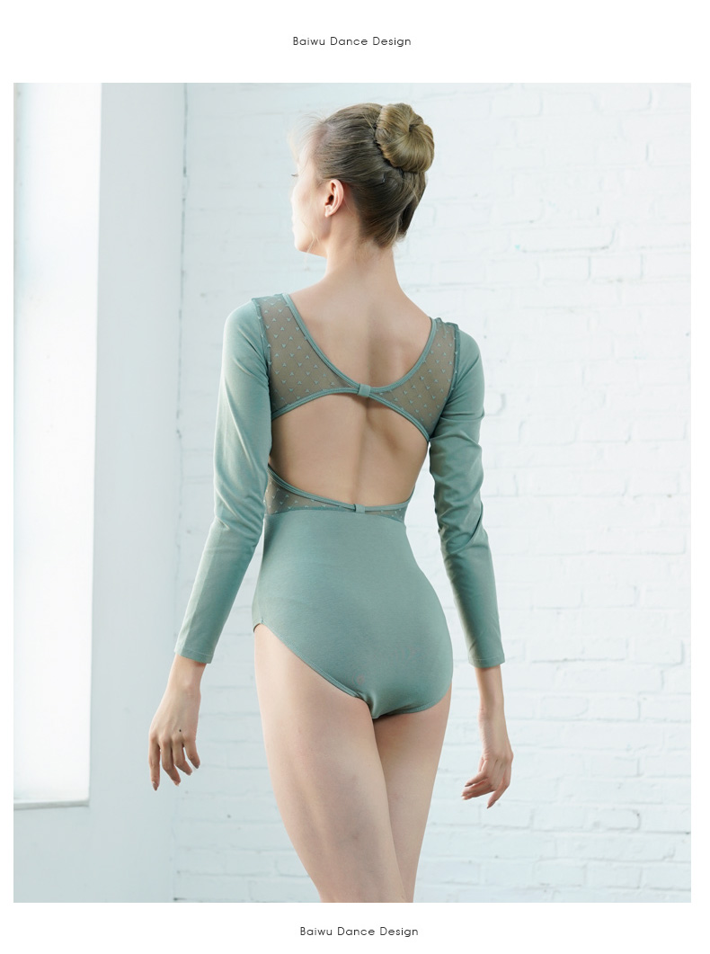 119141021  Sweetheart Mesh Leotards for Girls Fashion Baiwu Dance Leotard