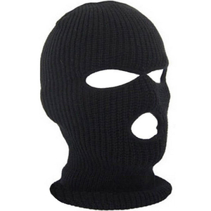 Free Shipping Full Face Cover Mask Three 3 Hole Balaclava Knit Hat Winter Stretch Snow mask Beanie Hat Cap Black Warm Face masks