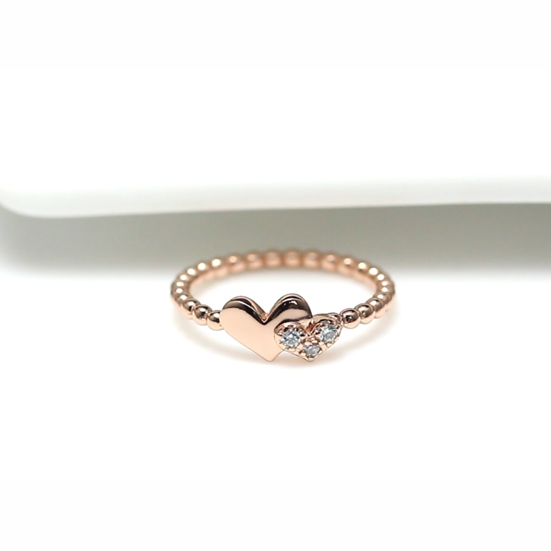 RINNTIN EQR10 New Arrival Heart Ring Real 925 Sterling Silver Delicate Women Finger Ring Jewelry