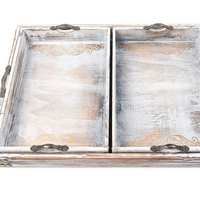 Vintage wooden serving tray, set of 3 unique designed rustic handcrafted with metal handles