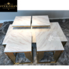 marble top coffee table gold metal base european style brushed golden stainless steel frame designer white coffee side tables