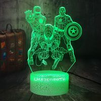 Remote Control Crack Base Marvel Heros Spider Man Iron Man RGB with sensor Cute acrylic Plug in Kids Baby 3D LED night light